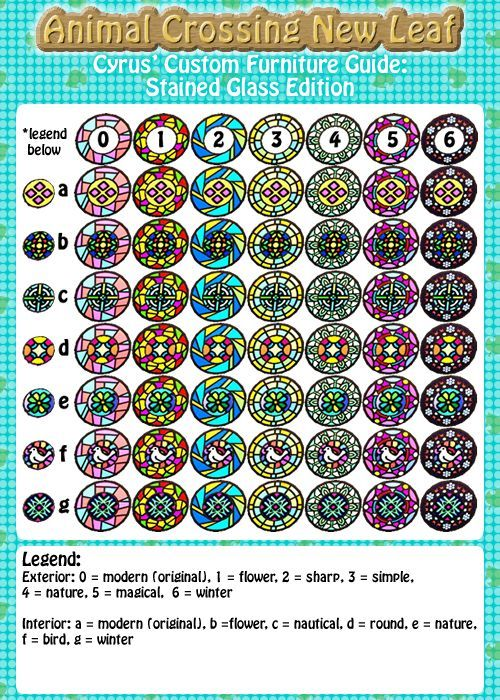 really handy stained glass guide for customization!   acnewleaf qr