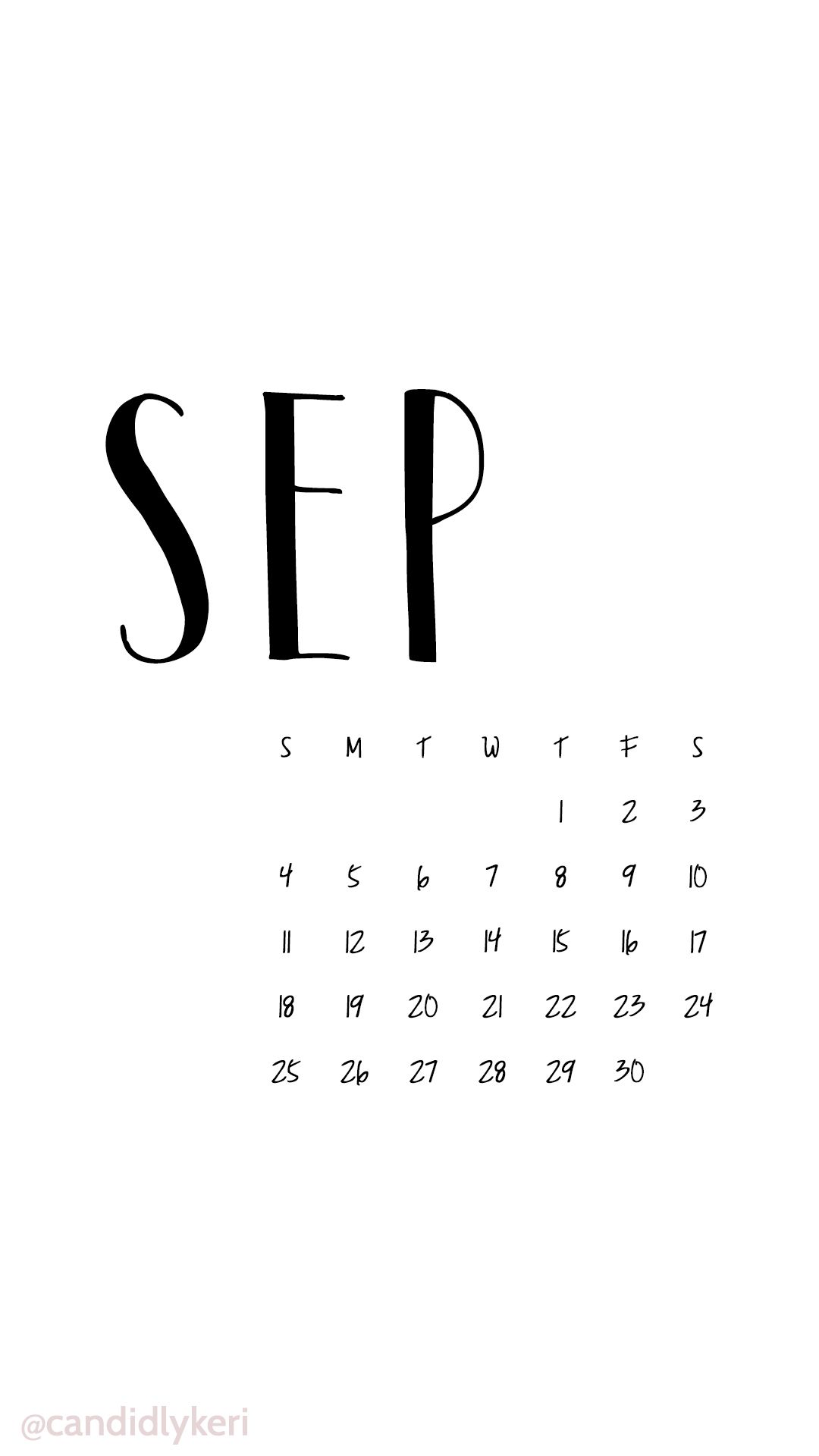 Black And White Script September Calendar Wallpaper