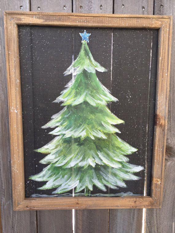 Pine Tree With Snow Rustic Pine Treepine Treeoutdoor Etsy Christmas Window Painting Christmas Tree Painting Christmas Paintings