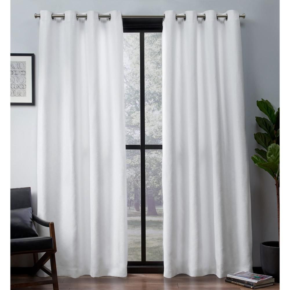 Leeds 52 In W X 96 In L Woven Blackout Grommet Top Curtain Panel In Winter White 2 Panels Eh8204 01 2 96g The Home Depot Home Curtains Grommet Top Curtains Curtains