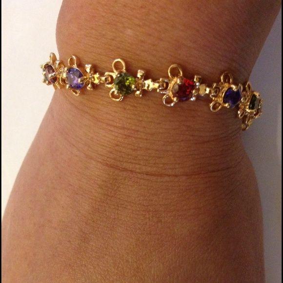 Bracelet Colorful Topaz 18k Gold plated bracelet Jewelry.(NEW) No Trades. No Holds. No PayPal. Jewelry Bracelets