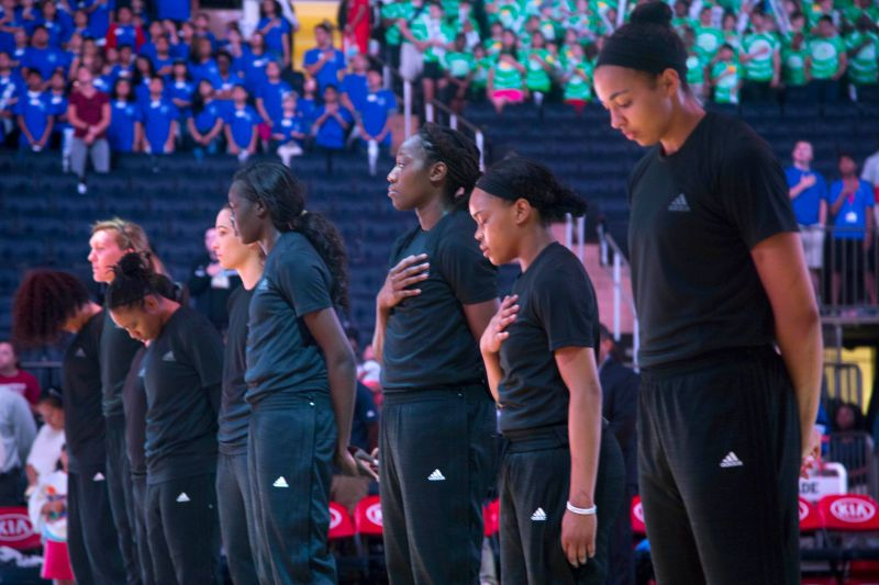 The New York Liberty played a game against the Indiana Fever this morning, the first game either team has played since being fined by the WNBA for wearing clothing that expressed support for Alton Sterling, Philando Castile, Black Lives Matter, and the slain Dallas police officers. Based on events that took place after the game, it doesn't look like the players have any intention of staying silent.