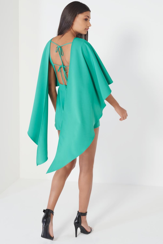 b6b8509459f Lavish Alice Jade Green Open Tie Back Cape Playsuit - Clothing from Lavish  Alice UK