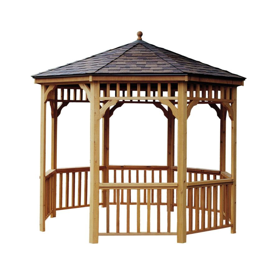 Heartland Brown Tan Wood Round Gazebo Exterior 9 6 Ft X 9 6 Ft