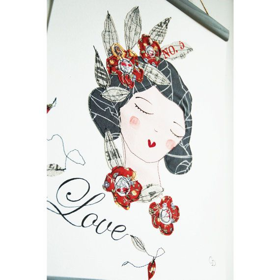 Illustration Lili A3 art textile affiche par EphemereCollection