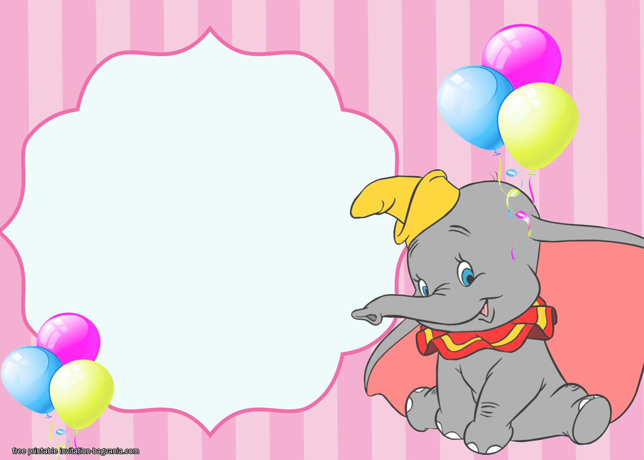Free Dumbo Birthday Invitation Templates Dumbo Birthday Invitation Birthday Invitations Printable Birthday Invitations