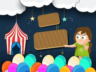 Kids Carnival Illustration with TentSpinning Wheels and Fun Stalls