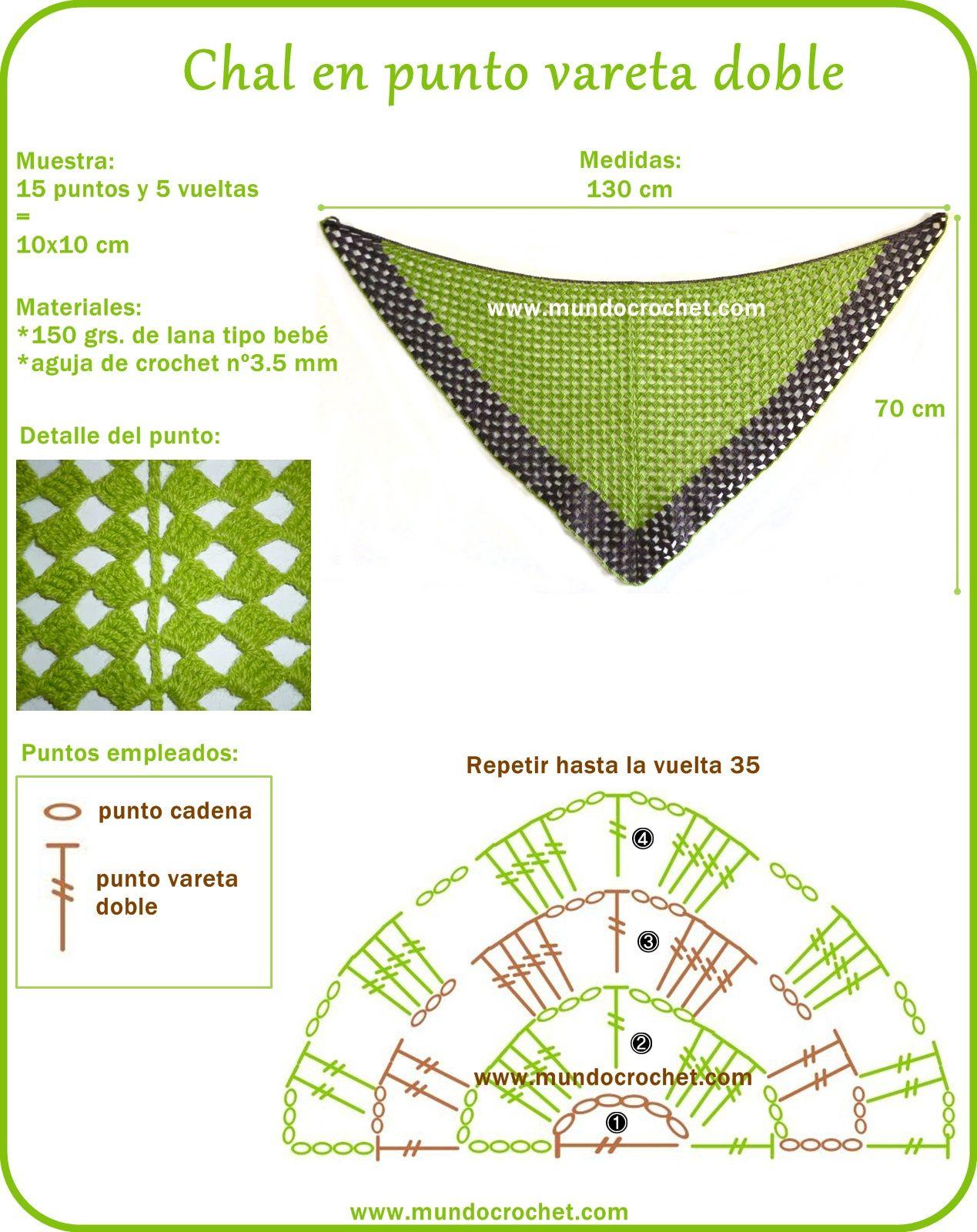 Chal crochet punto vareta doble - Crochet shawl | chal | Pinterest ...