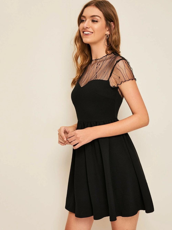 Sheer Mesh Yoke Fit Flare Dress Beautiful Designer Black Mesh Dress Dress Minidress Jumpsuit Bohostyledress Black Mesh Dress Fit Flare Dress Flare Dress [ 1332 x 1000 Pixel ]