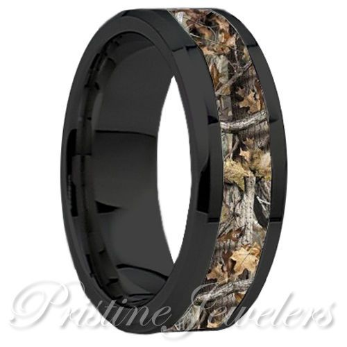 Anium Oak Real Forest Camo Ring Mossy Tree Wedding Band Men Black Silver 8mm In Jewelry