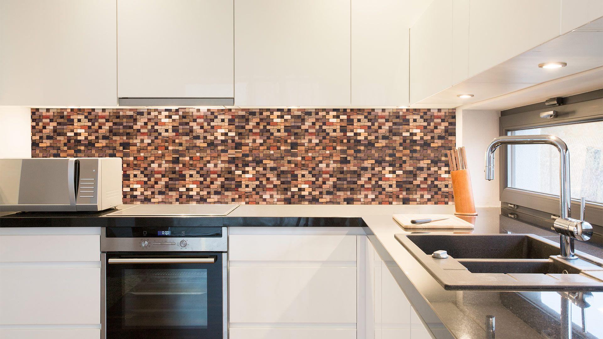 nwall wood mosaic kitchen backsplash nwall wood mosaic handmade rh pinterest com