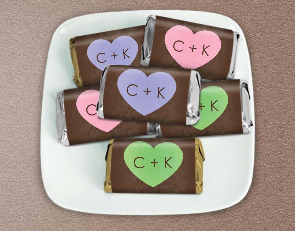 Colorful heart mini sized candies personalized with your initials