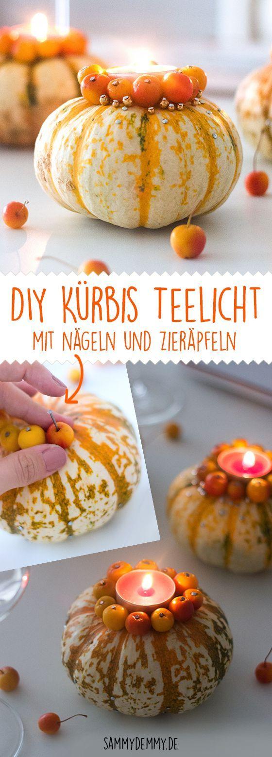 Kürbis DIY: herbstliche Kerzenhalter mit Zieräpfeln basteln #falldecor
