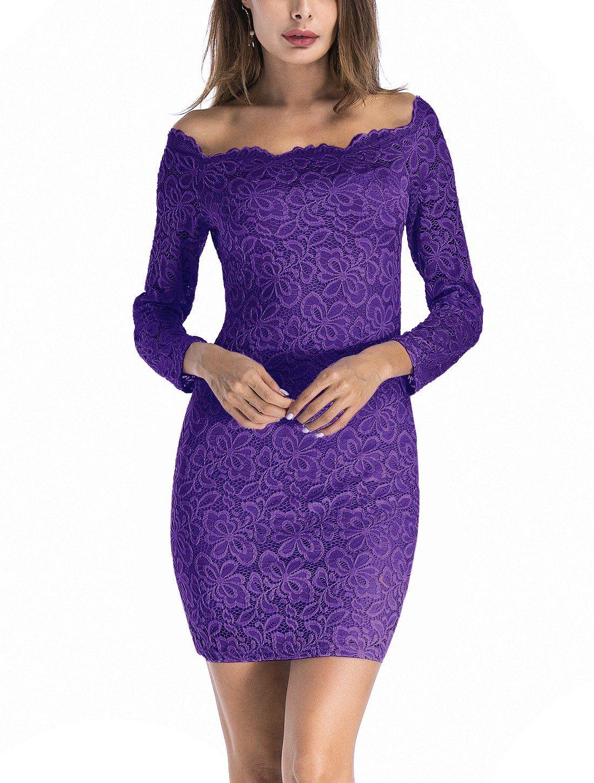 a3fa722f79aa Women Floral Lace Dress Long Sleeve Off Shoulder Cocktail Wedding Pencil Dresses  Purple Size S