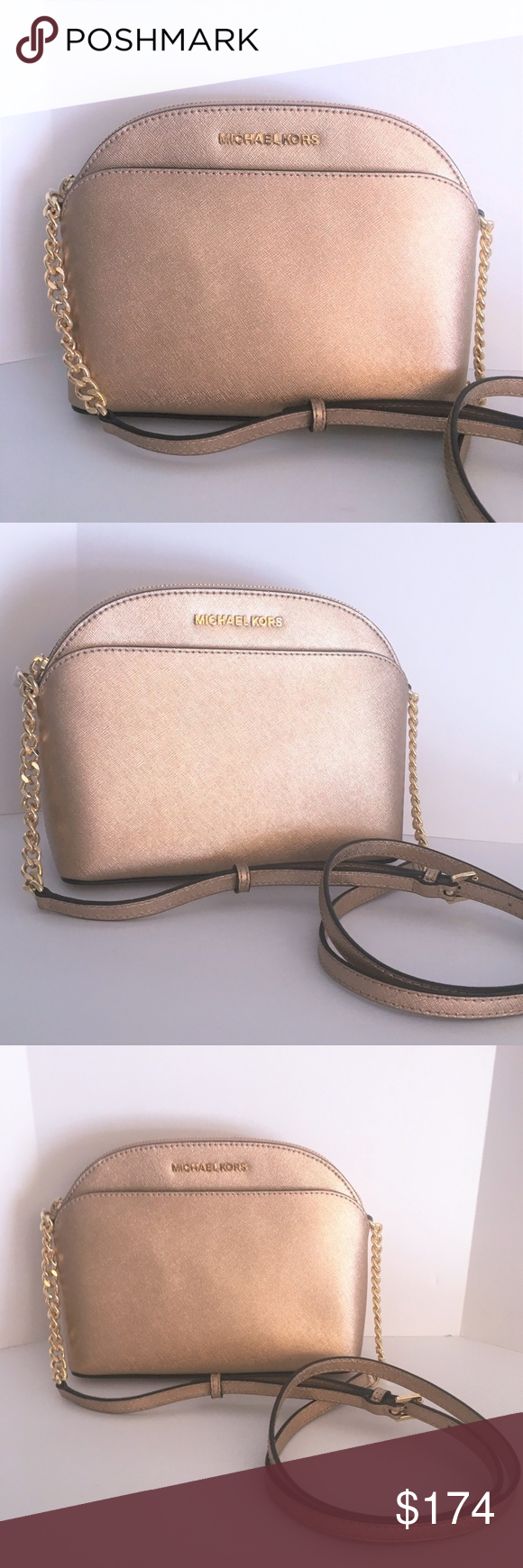 51fc89e1c621 Michael Kors Emmy Crossbody - Rose Gold Leather This gorgeous EMMY Medium  Crossbody from Michael Kors