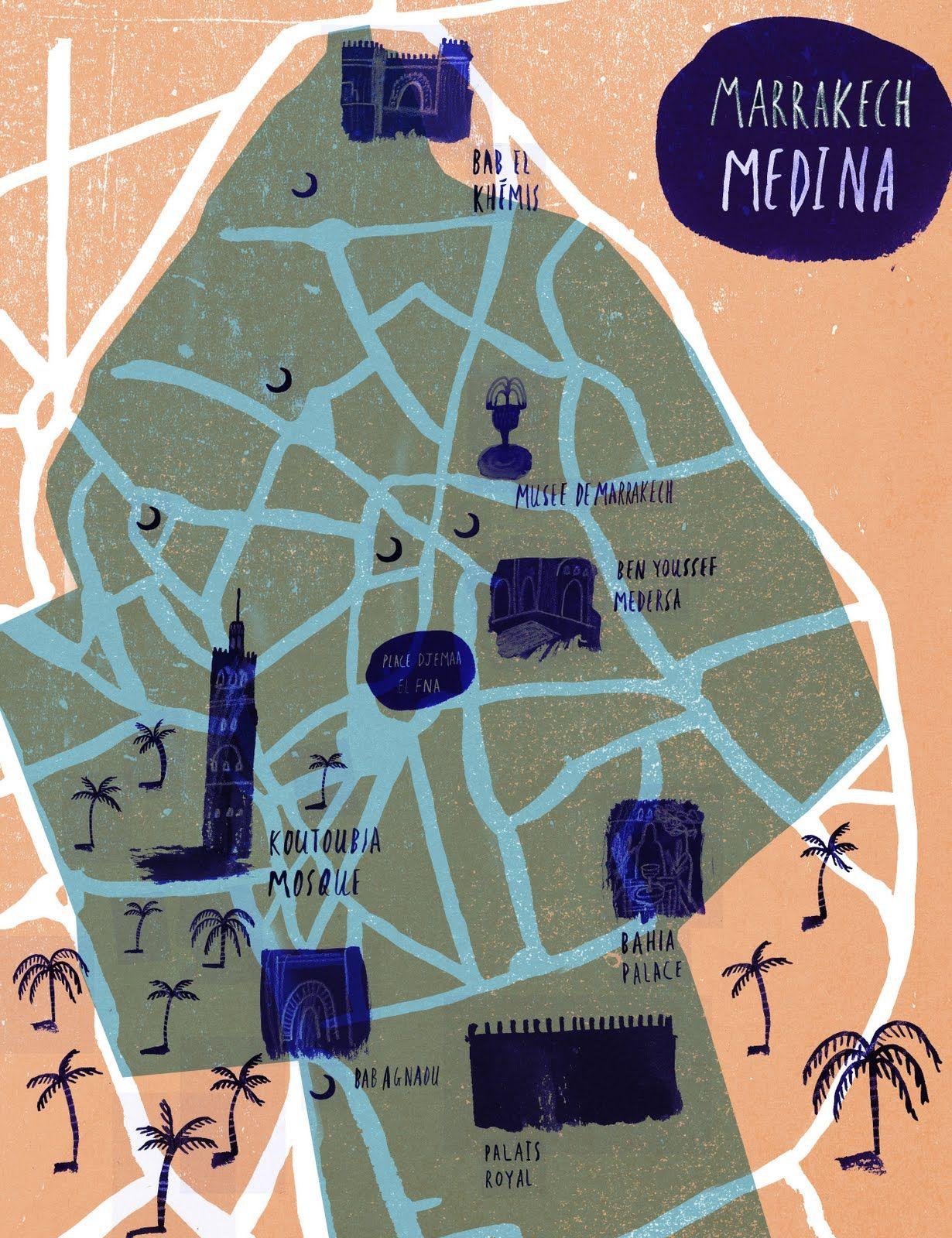 World Map Of Morocco%0A Marrakech Medina Map by Laura Bird