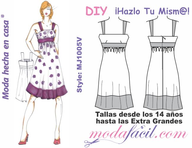 e2785deb24 Lindo vestido Bustier corte imperio de tirantas mj1005v - modafacil DIY