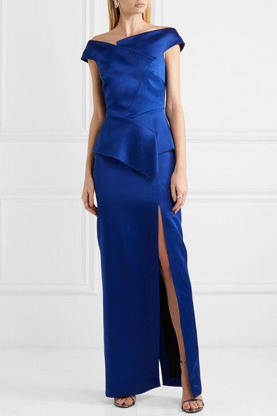 Cawthorne Off-the-shoulder Satin Gown - Blue Roland Mouret CFA2rZn