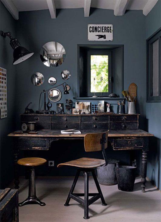 modern wood furniture dark workspace unconventional offices rh pinterest ca
