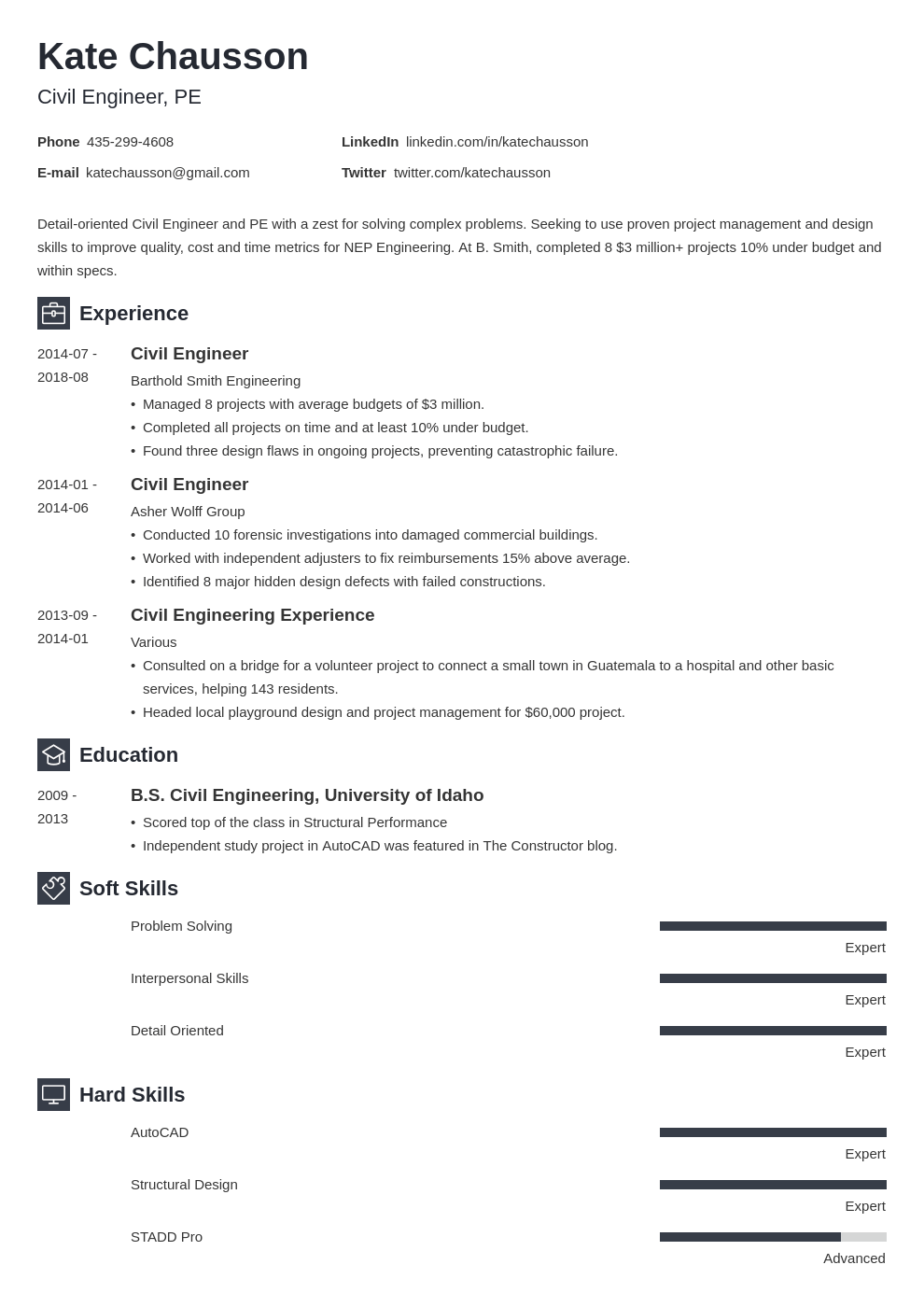 civil engineering resume example template newcast in 2020