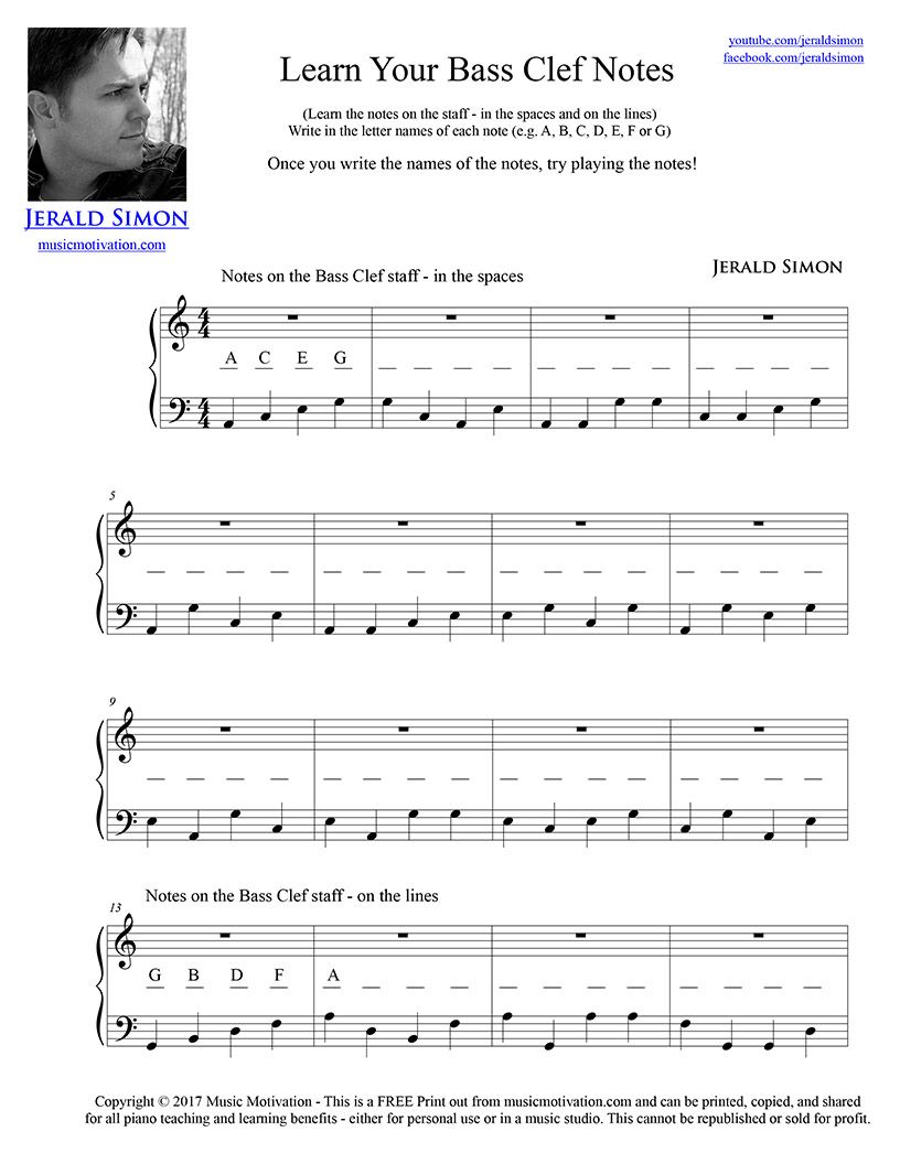 Learn Your Bass Clef Notes By Jerald Simon Music Motivation
