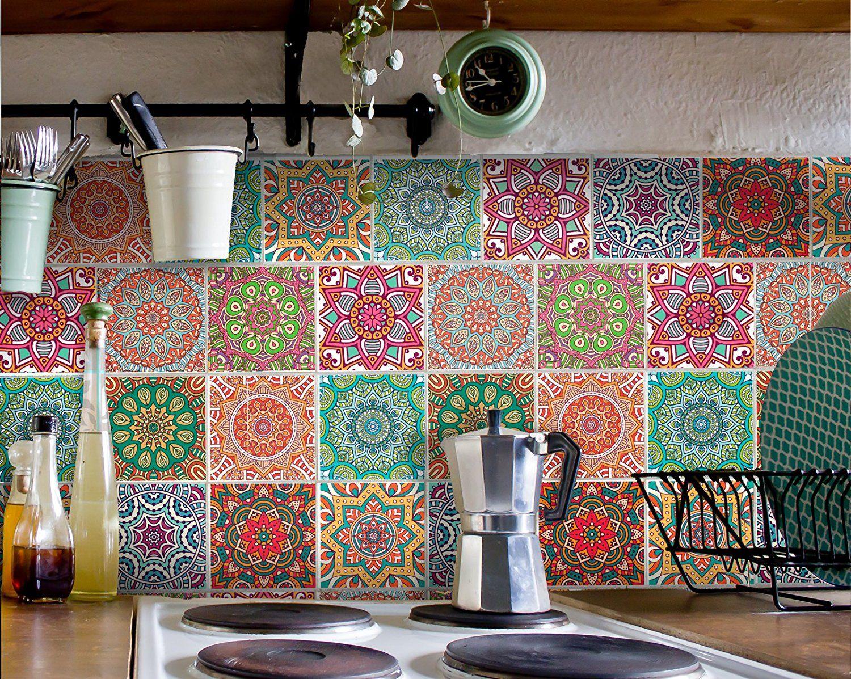 Fliesenaufkleber für Bad Deko u. Küche - Mandala Muster ...