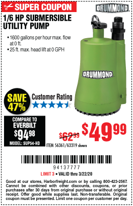 Drummond 1 6 Hp Submersible Utility Pump 1600 Gph For 49 99 In 2020 Submersible Utility Pump Utility Pumps Harbor Freight Tools