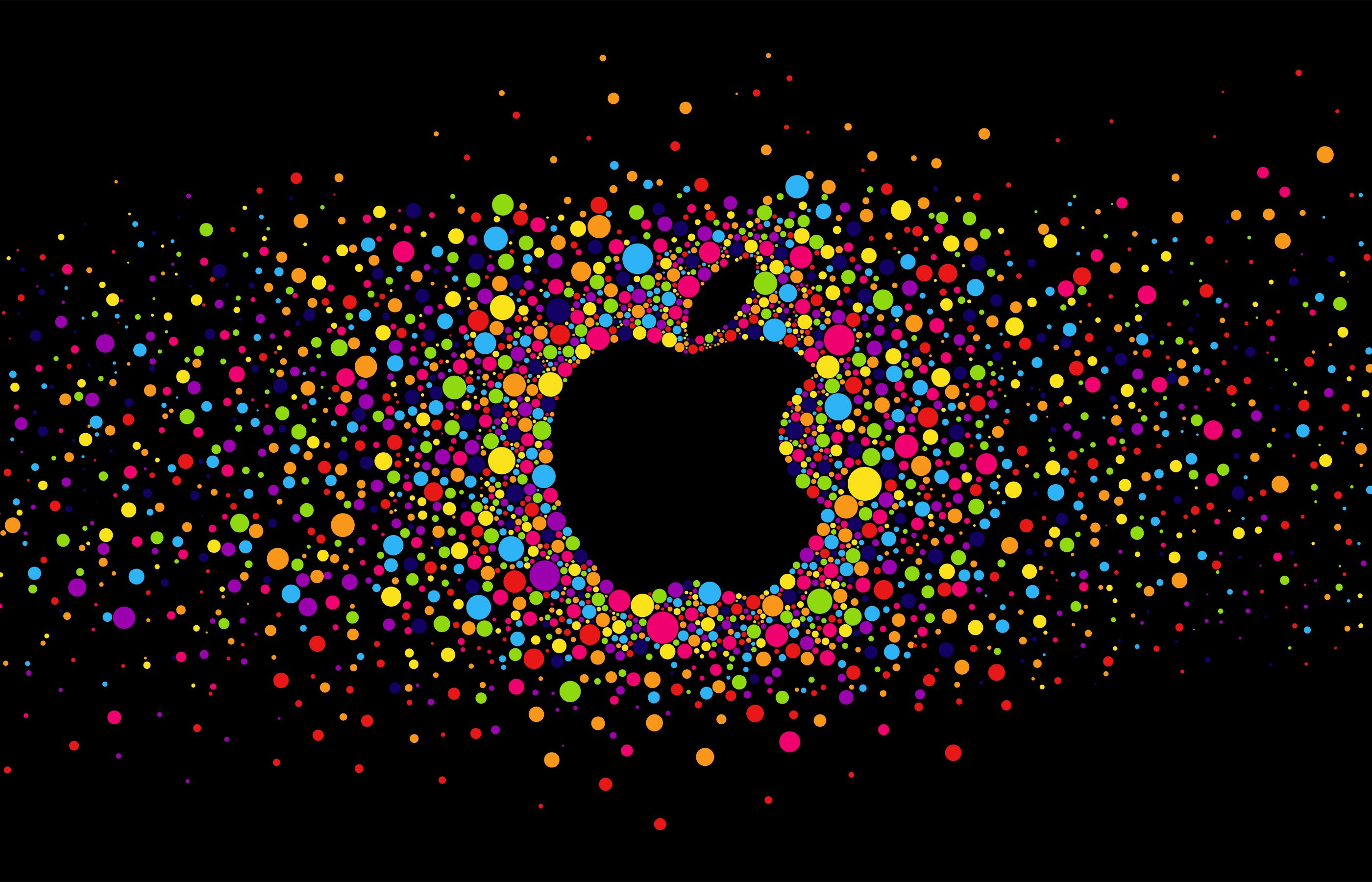 2800x1800 Wallpaper Apple Logo Bright Circles Colorful