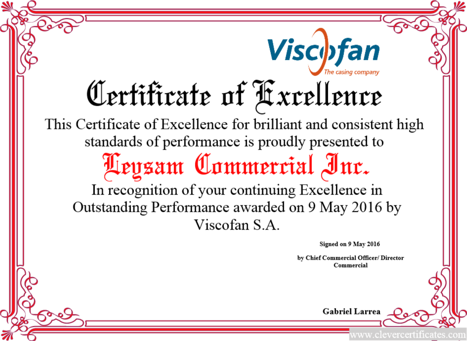 Certificate Of Excellence Free Certificate Templates For