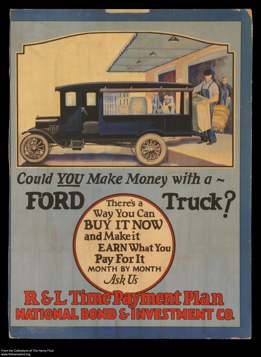 Ford Truck payment plan poster from the 1920's Vintage