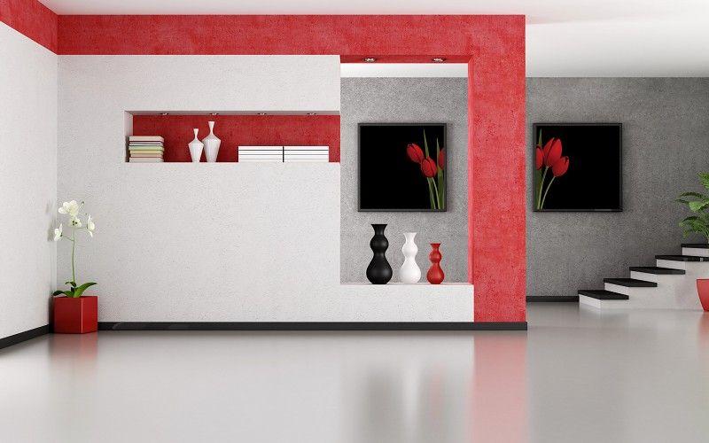 Minimalist Red And White Interior Design Wallpaper Minimalist