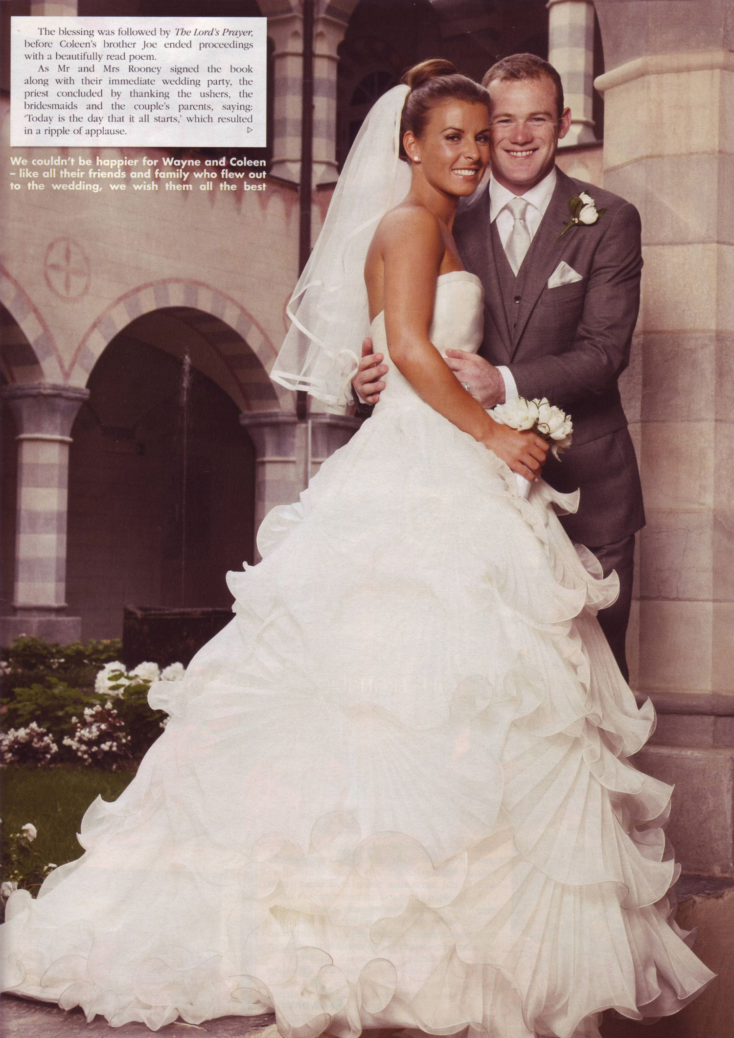 Who has designed Coleen's wedding dress picture