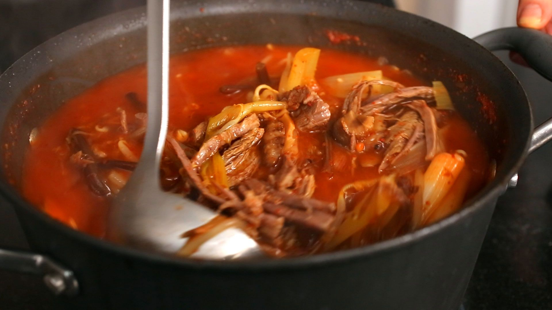 Korean spicy beef and vegetable soup (Yukgaejang:(육개장)