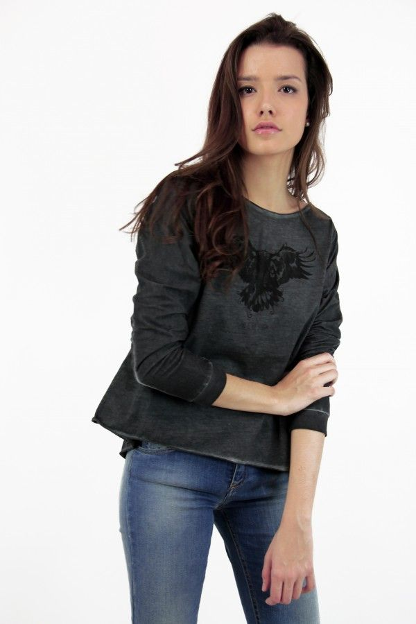 Camiseta estampada, gris, águila, Camiseta manga larga, shirt, Printed shirt, algodón, System Action, shop online, lookbook, model, street Style, SS2015,