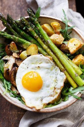 Bowl of Bombastic Power Bowl potato asparagus with fried egg Bowl of Bombastic Power Bowl potato asparagus with fried egg,