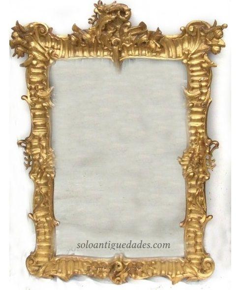 Elegante espejo de pared rectangular estilo luis xv for Espejo rectangular con marco