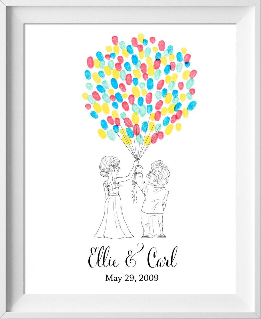 fingerprint guest book for wedding similar to fingerprint tree Love Moon Wedding Guest Book thumbprint tree Disney guestbook alternative