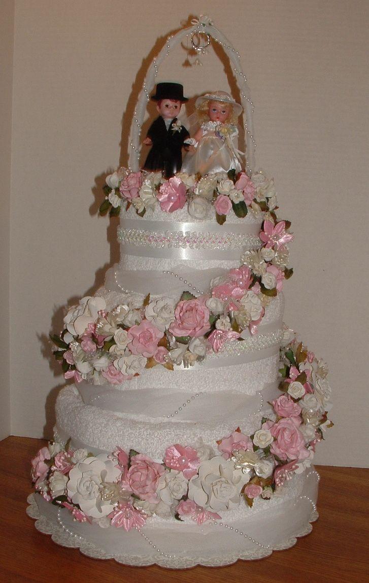 craft ideas homemade bridal shower decoration%0A Bridal Shower Towel Cake I made as part of the decor