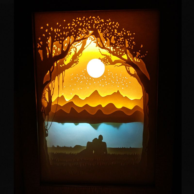 Meteor shower Paper cutting lights LED nightlights 3D carved wall - innovative feuerfeste spanplatten