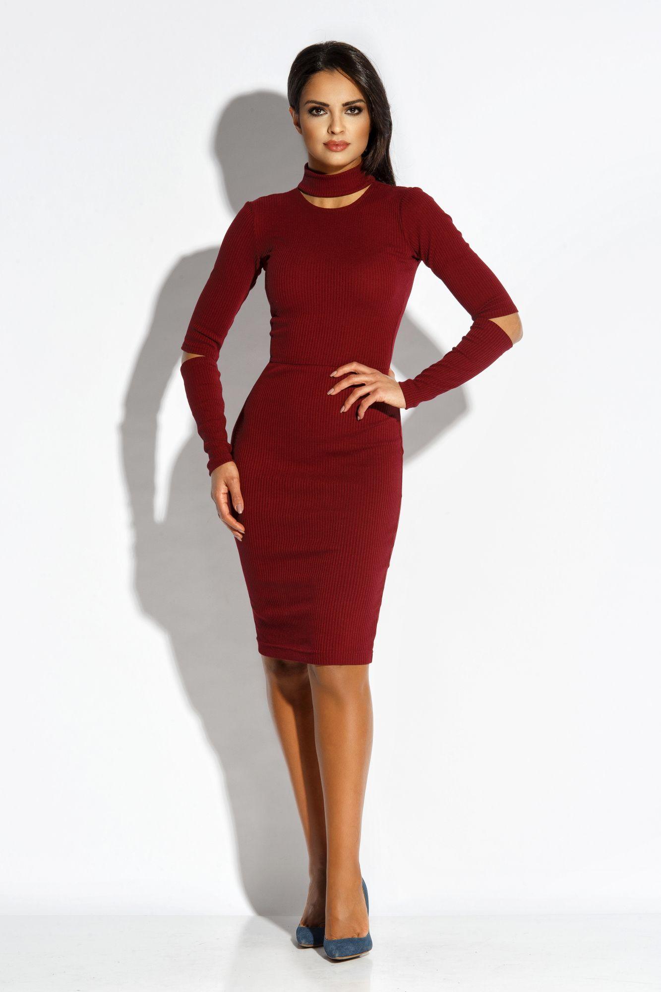 12aa8c4902 Dzianinowa Elegancka Sukienka Bordowa Rico w 2019