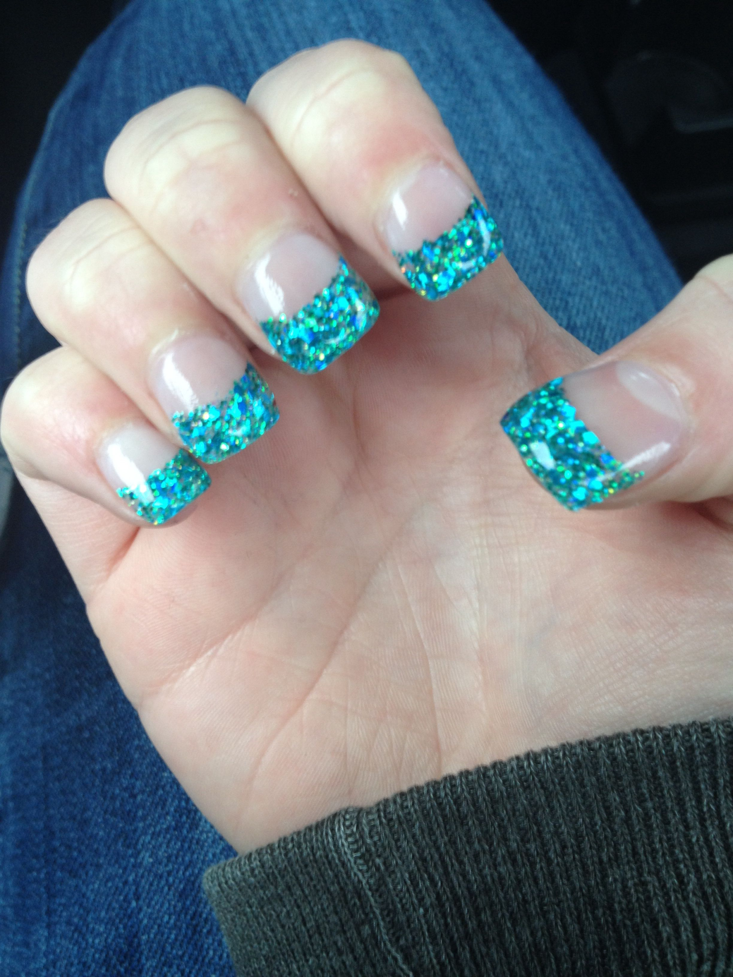 Pin By Tayler Wisor On Prom Prom Nails Blue Acrylic Nails French Tip Nails