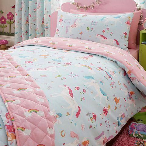 Tesco Direct Magical Unicorn Single Duvet Cover And Pillowcase Set Pink Toddler Bed Toddler Duvet Cover Duvet Bedding
