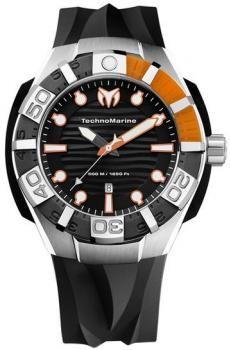 $943 Reloj de hombre Technomarine - caja acero redonda - cuarzo - correa silicona negra - calendario