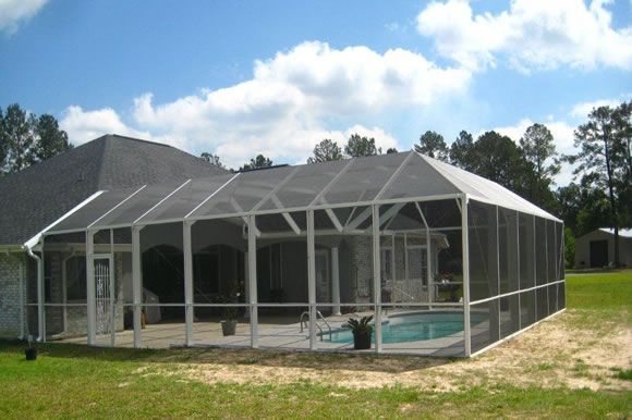 Screen Pool Enclosure Mansard Roof Style Screened Pool Pool Enclosures Pool Time