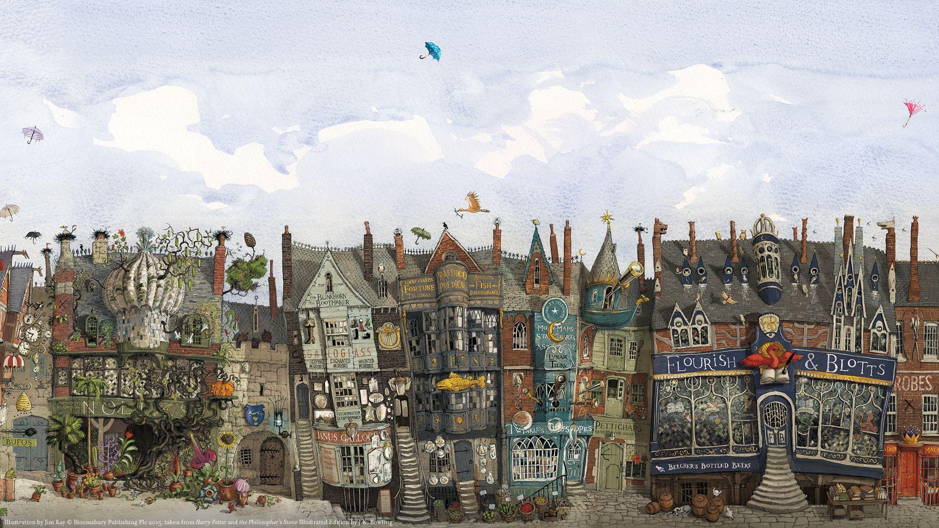 Harry Potter Illustrc3a9 Diagon Alley Chemin De Traverse Jpg 1 920 1 080 Pixels Wallpaper Ponsel Bunga