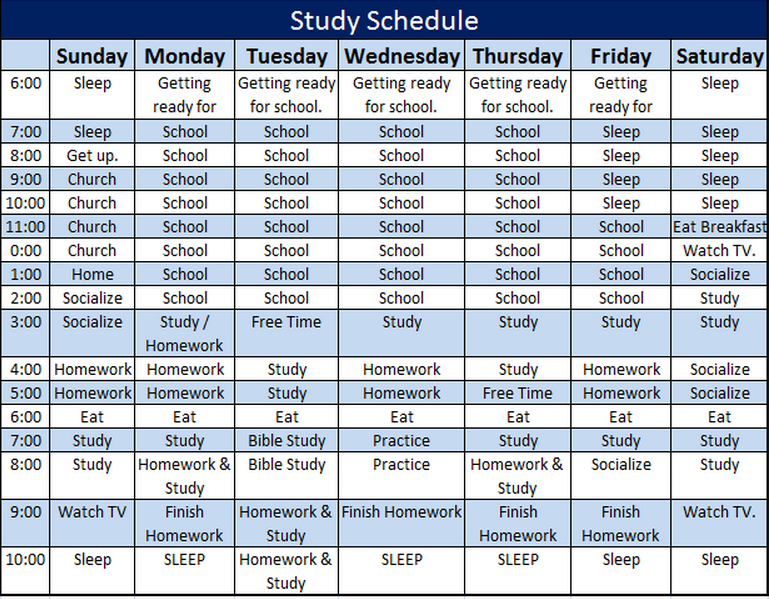 Study Schedule Template  Parenting Strength Training
