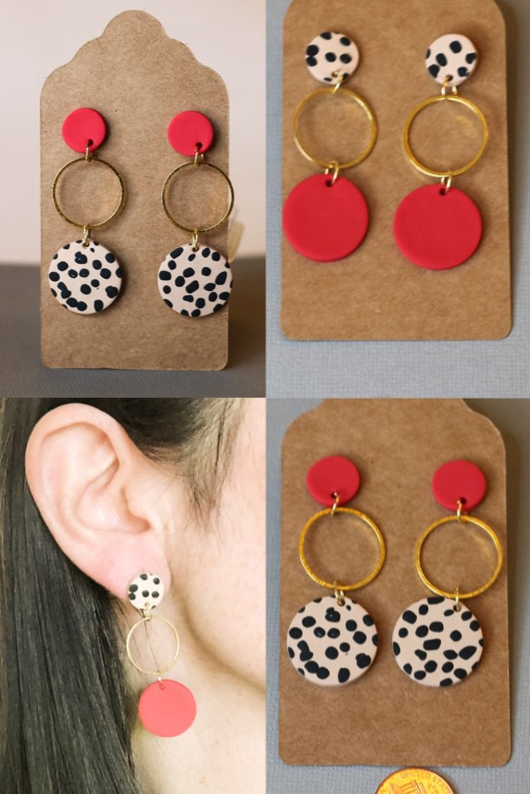 Abstract Circle Studs with Leaf Texture Print Handmade Polymer Clay Earrings