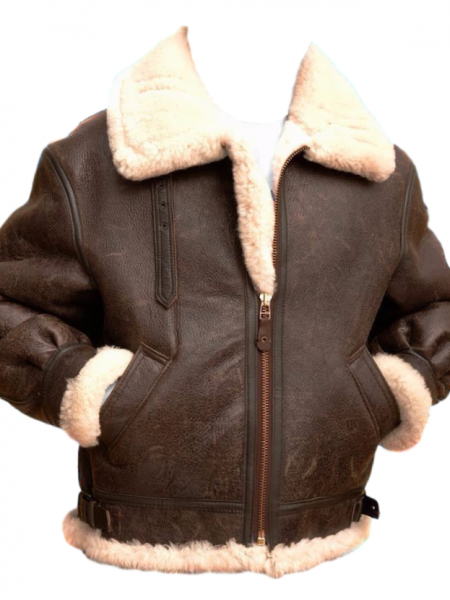 This is B3 lambskin fur shearling bomber jacket. The jacket