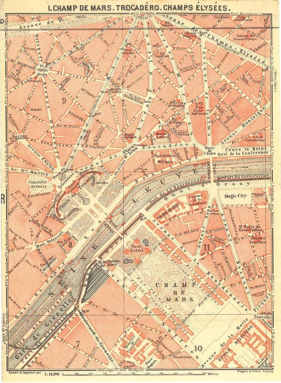 Paris City Plans Set of 5 Vintage Street Maps 1911 | City maps | Map ...