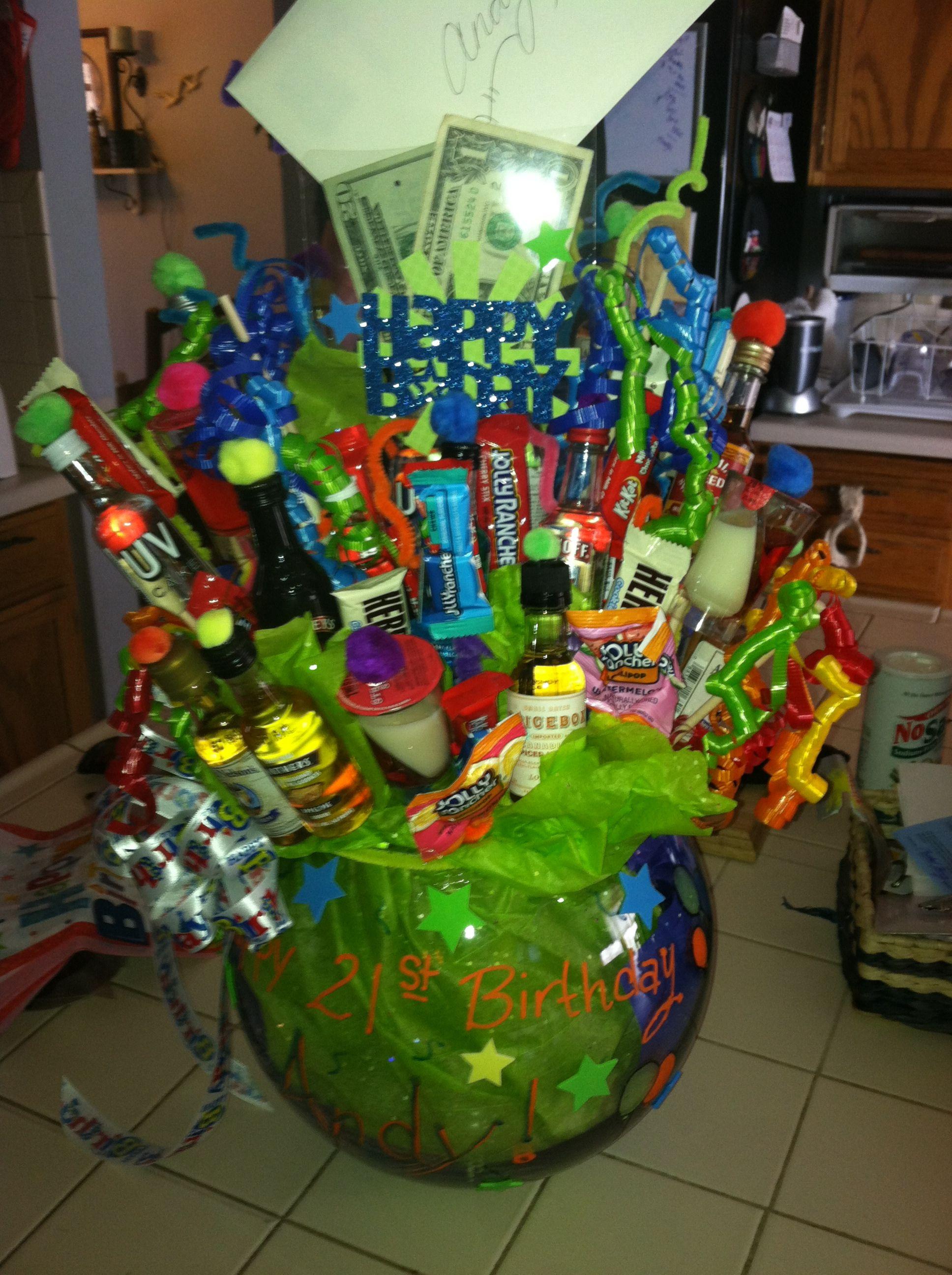 21st birthday present basket of shots 21st birthday